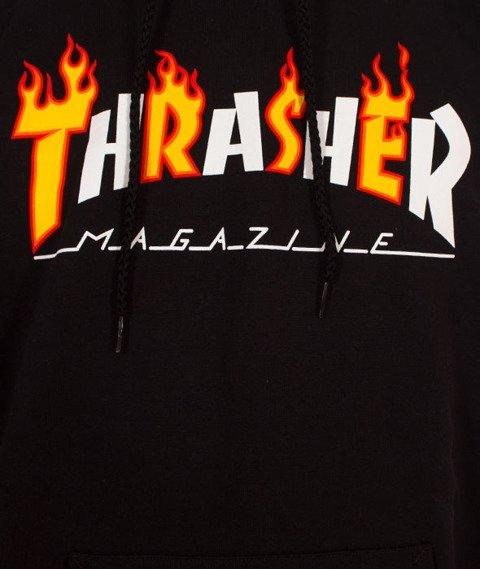 Thrasher-Flame Mag Bluza Kaptur Black