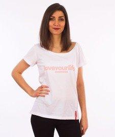 Alkopoligamia-Loveyourlife Loveyourleaf T-Shirt Damski Biały