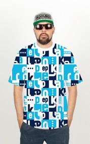El Polako-Multisquare T-Shirt Błękit
