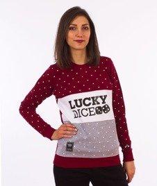 Lucky Dice-Dot Cut Girl Crewneck Bluza Damska Szara/Bordowa