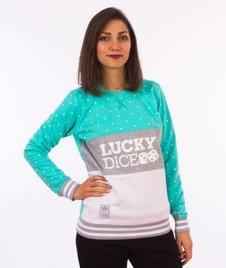 Lucky Dice-Dot Cut Girl Crewneck Bluza Damska Szara/Miętowa