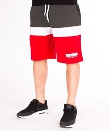 Mass-Respect Spodnie Dresowe Krótkie Red/Dark Heather Grey