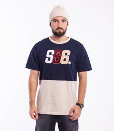 Smoke Story CHENIL LOGO T-Shirt Granatowy/Beżowy