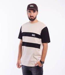 Smoke Story CUT COLOR LINES T-Shirt Beżowy/Czarny