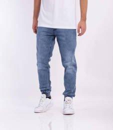 Smoke Story SKIN Jogger Slim Jeans Wycierane Light Blue