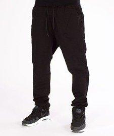 SmokeStory-Jeans Stretch Straight Fit z Gumą Tkanina Spodnie Czarne