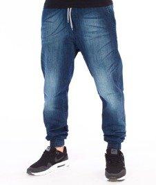 SmokeStory-Jogger Premium Slim Guma Spodnie Dark Blue Cieniowane